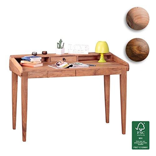 FineBuy Schreibtisch Massiv-Holz Akazie Computertisch 117 cm breit mit 3 Schubladen Design Büro-Tisch Landhaus-Stil Büro-Möbel Echt-Holz Sekretär Natur-Produkt PC-Tisch braun mit Fächer für Ablage