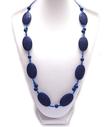 Silicone Teething Necklace - by Modern Ohana - BPA Free, Silicone Jewelry for Mom and Baby (Flat Textured Oval with Small Beads) (Navy)