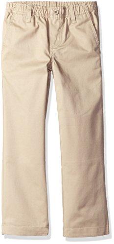 Nautica Boys' Uniform Elastic Waist Pull-On Twill Pants, Khaki, Large/6