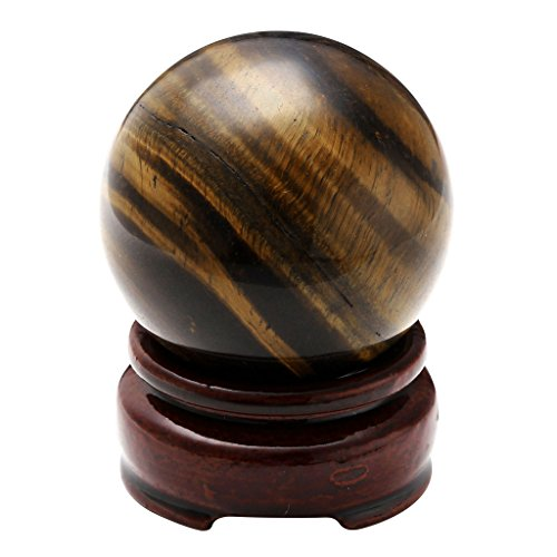 "JOVIVI 2""(50mm) Healing Crystal Natural Rose Quartz/Tiger Eye Gemstone Ball Divination Sphere Sculpture Figurine With Wood Stand"