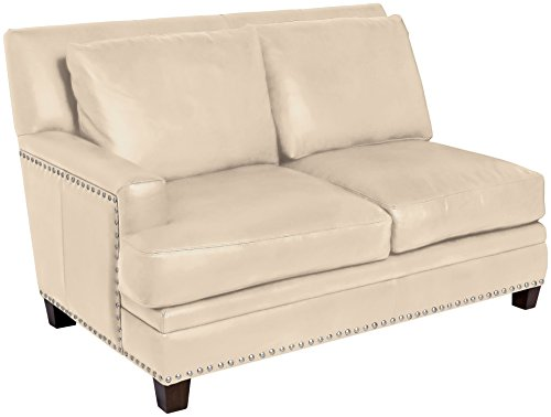 Omnia Leather Glendora Left Arm 2 Cushion Loveseat in Leather, with Nail Head, Softstations White Winter