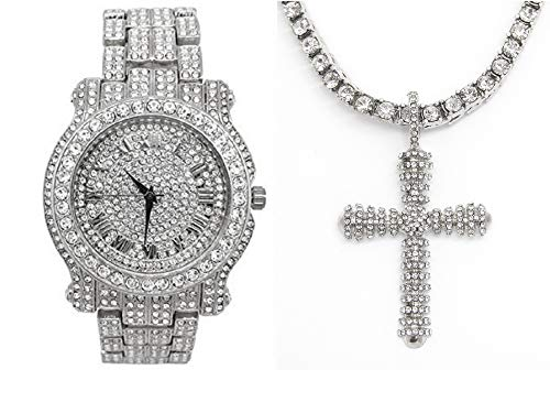Bling-ed Out Royalty I AM King Mens Watch with Bling-ed Out Tennis Necklace and Iced Out Raised Up Cross Pendent - L0504SN Raised Up Cross Silver from Charles Raymond