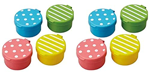(2 X CuteZCute Mini Condiment Mayo Container for Bento Lunch Box, Blue/Pink/Green/Yellow, Set of 4)