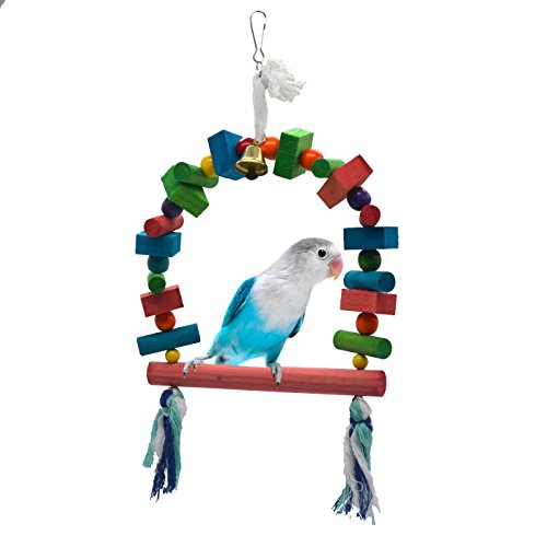 Natural Conure - Parrot cage toys bird swing toys bells bird perch with natural Wood Beads Bells Wooden Hammock Hanging Toys for Budgie Lovebirds Conures Parakeet African Greys Amazons Eclectus Cockatoos (Style 6)