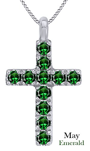 AFFY 925 Sterling Silver Simulated Garnet Cross Pendant (18Ct White Gold Plated Sterling Silver)