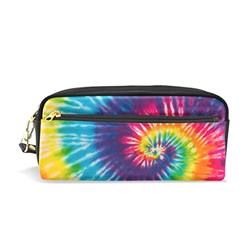 Cooper girl Swirl Rainbow Watercolor School Pencil Case Travel Makeup Organizer Clutch Bag with Zipper