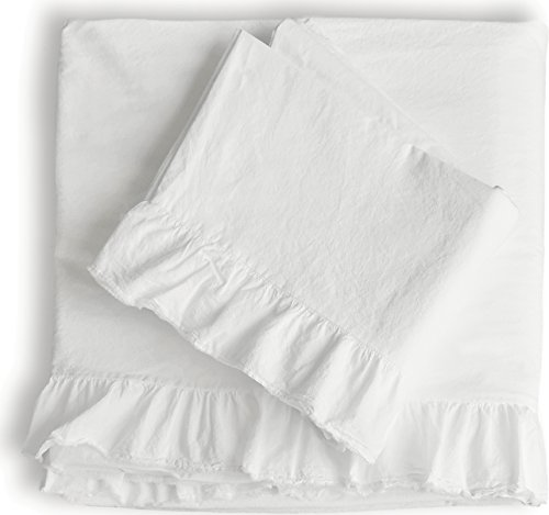 (Piu Belle Shabby Chic Ruffled 4pc Sheet Set King 100% Cotton Cottage French Country Style Frilled Sheets White)