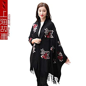 2245c999e1f2e HITSAN INCORPORATION elegant ladies roses flowers embroidered wool scarves  women floral embroidery blanket scarf tassels winter