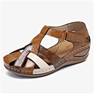 Premium Leather Retro Arch Support Comfy Round Toe Sandals,Non-Slip Hollow Closed Toe Sandals,Lightweight and