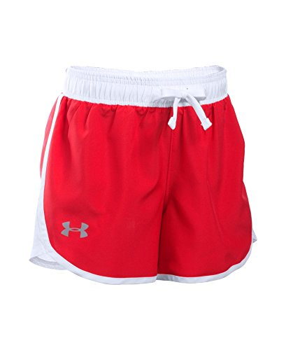 Under Armour Girls' Fast Lane Shorts, Red/White, Youth - Young Girls Workout Shorts