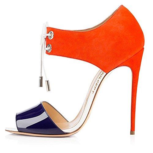 Coolcept Dames Hoge Hak Sandalen Peep Toe Veelkleurig Geregen Stiletto Schoenen Chic Voor Vrouwen Oranje En Paars