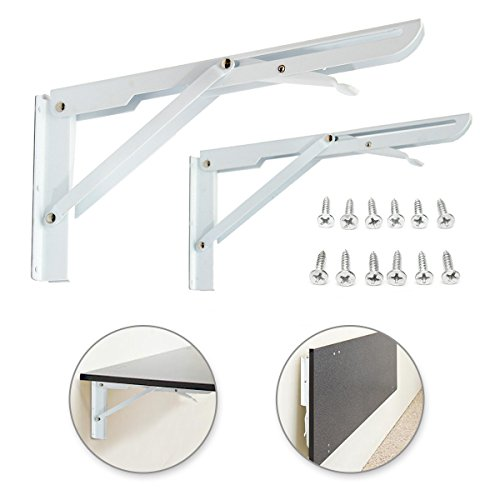 KINGSO 2 Pack White Fordable Steel Shelf Brackets,Industrial Hanging Book Shelf,Cold Rolled Steel Coat Finish Heavy Duty Folding with Mounting Screws Max Load 130lb by KINGSO