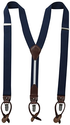 Tommy Hilfiger Men's 32mm Suspender With Convertible Clip, Button End and Strap,Navy,One Size