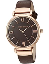 Anne Klein Womens AK/2666RGBN Swarovski Crystal Accented Rose Gold-Tone and Brown Leather Strap Watch