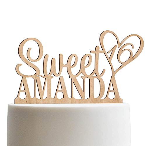 Personalized Sweet Sixteen Cake Topper 16th Birthday Cake Topper Customized Name Quincea-era Cake Topper | Wooden Cake Toppers