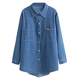 Mordenmiss Women's Denim Shirt Long Sleeve Button Closure Lightweight Jacket