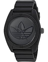 adidas Mens Santiago Quartz Rubber and Silicone Casual Watch, Color:Black (Model: ADH3199)
