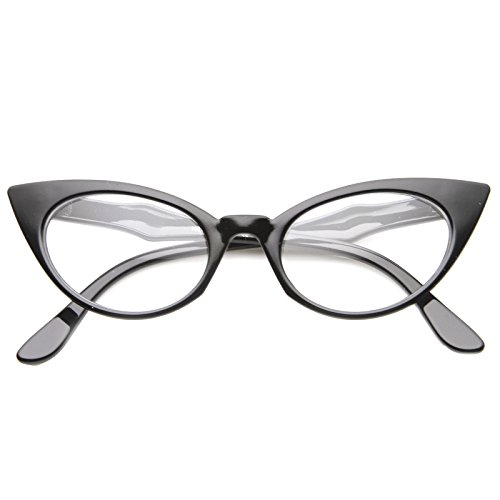 [zeroUV - Retro Exaggerated High Point Frame Clear Lens Cat Eye Glasses 52mm (Black / Clear)] (Clear Cat Eye Glasses)