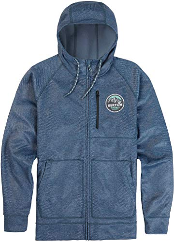 Bonded Full Zip Fleece - Burton Men's Crown Bonded Full-Zip Hoodie, Mood Indigo Twill W19, Large