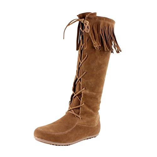 - Forever Baylee-09 Women's Fashion Fringe Lace Up Knee High Boots,Color:Tan, Size:7