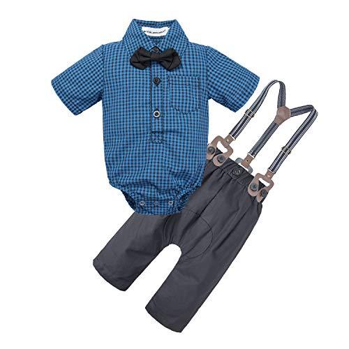 bdcef635f BIG ELEPHANT Baby Boys 2 Pieces Fashion Shirt Suspender Pants Set with  Bowtie U07