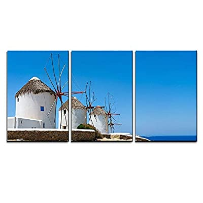Windmills on Mykonos Greece Wall Decor x3 Panels...