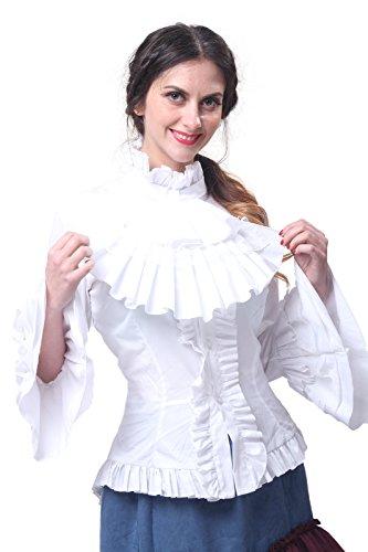 Collar Shirt Ruffle Stand (Nuoqi Women Lolita Stand-Up Collar Lotus Ruffle Shirts White Retro Victorian Blouse GC173B-3XL)