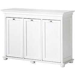 """Hampton Bay 37 Inch White Triple Tilt Out Bathroom Hamper, 27""""Hx37""""Wx13""""D, WHITE"""