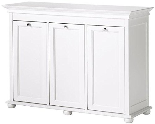 "Hampton Bay 37 Inch White Triple Tilt Out Bathroom Hamper, 27""Hx37""Wx13""D, WHITE"