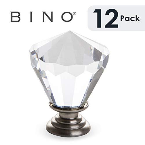 "BINO 12-Pack Crystal Cabinet Knobs Drawer Pull Handles - 1.25"" Diameter (32mm), Satin Nickel - Dresser Knobs for Dresser Drawers Crystal Knobs and Pulls Handles"