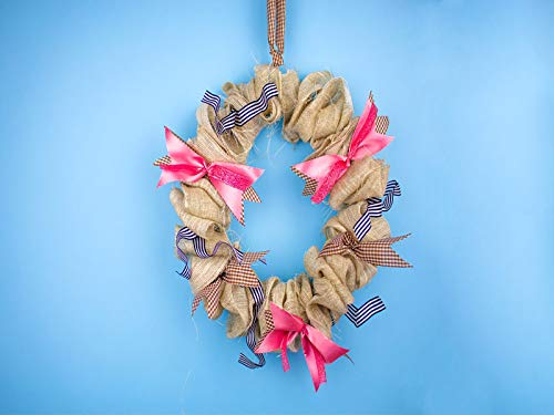 Do It Yourself Burlap Front Door Wreath With Accent Ribbon