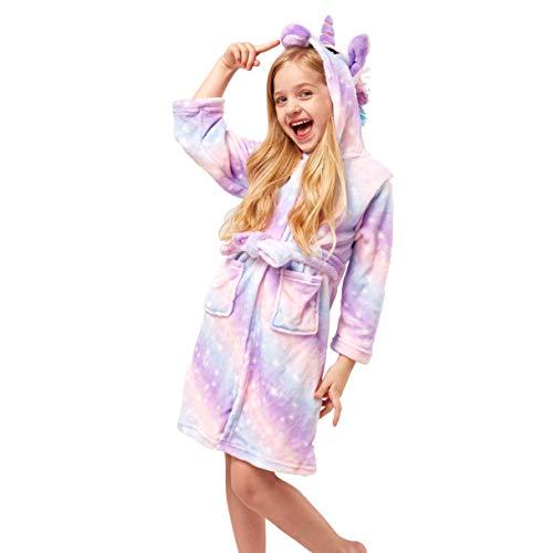 NOUSION Soft Unicorn Girl Bathrobe Hoodie, Unisex Hooded Gift for Girl and Boys Light Purple, 5 Year