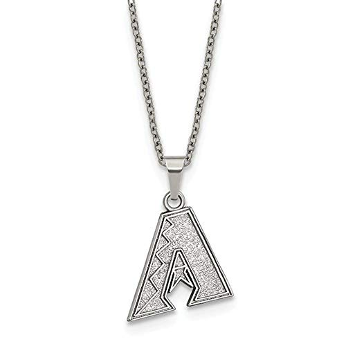 MLB Arizona Diamondbacks Stainless Steel Arizona Diamondbacks Pendant on chain with 2 in ext Necklace Size One Size Arizona Diamondbacks Chain Necklace