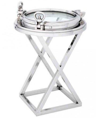 Casa Padrino Designer Luxus Blumentisch Bullauge Mod3 Silber Höhe: 83 cm, Durchmesser 58 cm - Edelstahl Tisch - Beistelltisch Nickel Finish - Luxus Qualität