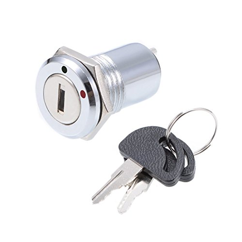 uxcell 16mm 2 Positions NO OFF Electric Keylock Key Push Button Switch S1601