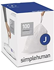 simplehuman CW0238 Code J Custom Fit Liners, Tall Kitchen Drawstring Trash Bags, 30-45 Liter / 8-11.9 Gallon, 100-Count Box White