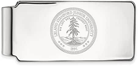 14k White Gold LogoArt Official Licensed Collegiate Stanford University (SU) Money Clip Crest
