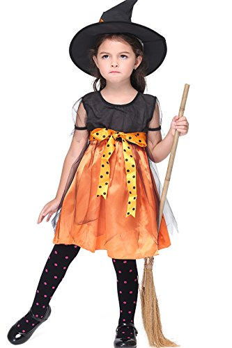 Cute Halloween Dresses For Kids (Cute Fairytale Halloween Pumpkin Toddler Kids Witch Costume Set Bats Fancy Dress with Hat for Girls)