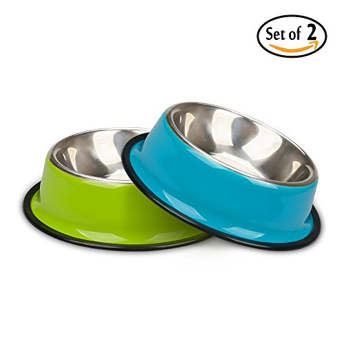 miaosun Pet Bowls for Cats Non Skid with Natural Rubber Base, Variety of Colors Food Grade Stainless Steel Dog Food And Water Bowls for Travel, Pack of 2 (Green & Blue)