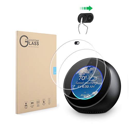 LANMU Screen Protector Webcam Cover Compatible with Echo Spot,High Definition Screen Protector for Echo Spot with Webcam Cover (2 Screen Protector 1 Webcam Cover)