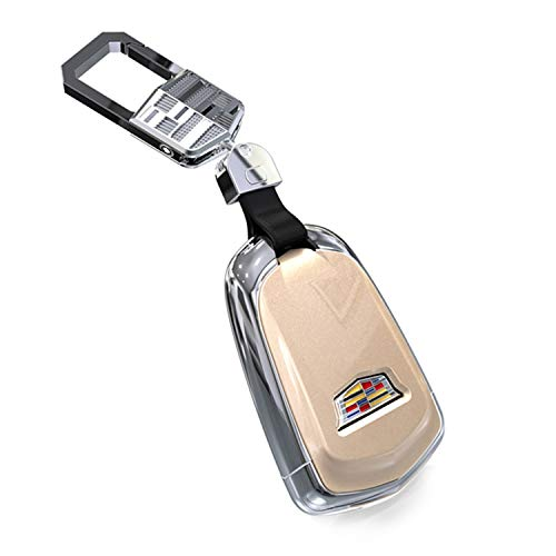 FancyAuto Car Key Cover ABS Auto Key Case Smart Remote Key Protector for Cadillac XTS ATS-L XT4 XT5 CT6 SRX Escalade Key,shield logo,with Key Chain (Gold)
