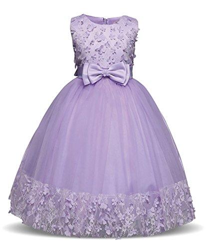 TTYAOVO Girl Princess Flower Bowknot Lace Baby Girls Wedding Christmas Party Dress Size 5-6 Years Purple