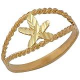10k Yellow Gold Split Band Diamond Cut Marijuana Pot Bud Leaf Ring