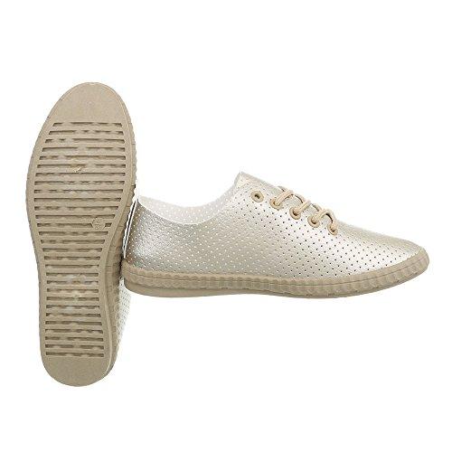 Zapatillas para Bajas 1838 Design Plano Gold Zapatos 2 Ital Zapatillas Mujer 6a1nZZ
