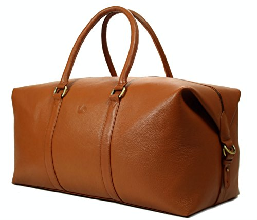 LeftOver Studio Expandable Weekend Overnight Travel Duffel Bag in Tan Top Grain Cow Leather by Leftover Studio