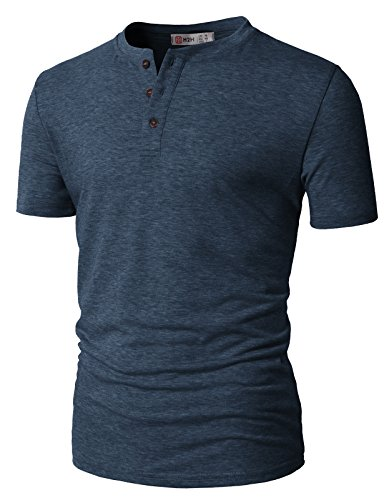 (H2H Men's Casual Slim Fit Short Sleeve Henley T-Shirts with Pocket Blue US S/Asia M (CMTTS0203))