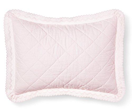 Simply Shabby Crochet Trim Linen Blend Pillow Sham Standard Pink (Simply Bedding Shabby Chic)