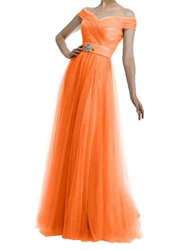Rock Orange Brautmutterkleider Tuell Partykleider Lang Bodenlang linie Damen Braun Charmant A Abendkleider Hell wfOv7Cq