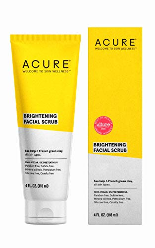 ACURE Brightening Facial Scrub  | 100% Vegan | For A Brighter Appearance | Sea Kelp & French Green Clay - Softens, Detoxifies and Cleanses | All Skin Types | 4 Fl Oz
