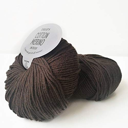 Superwash Merino Wool and Cotton Yarn for Knitting and Crocheting, 4 or Medium, Worsted, DK Weight, Drops Cotton Merino, 1.8 oz 120 Yards per Ball (12 Brown) (Cotton Yarn 8 4 Or 8 8)